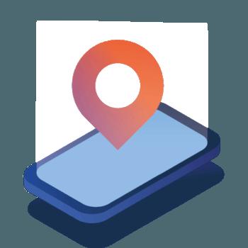 telefon mobilny ze znacznikiem położenia